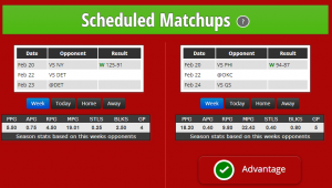 Scheduled match-ups